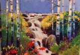 Water fall in poplars. 30 X 36