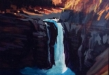 An afternoon at Ram Falls 12 x 16 Acrylic. Sold.