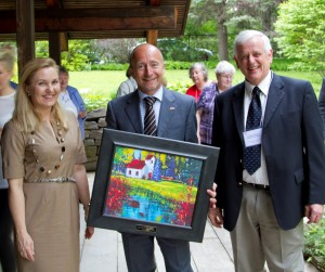 Danish Ambassador to Canada, Niels Boel Abrahamsen with his wife Mrs. Karen Eva Abrahamsen & Gordon Petersen, President of the Danish Canadian National Museum