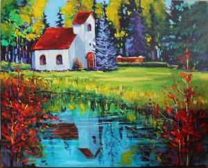 Dagmar Danish church Acrylic 16 x 20 Commission